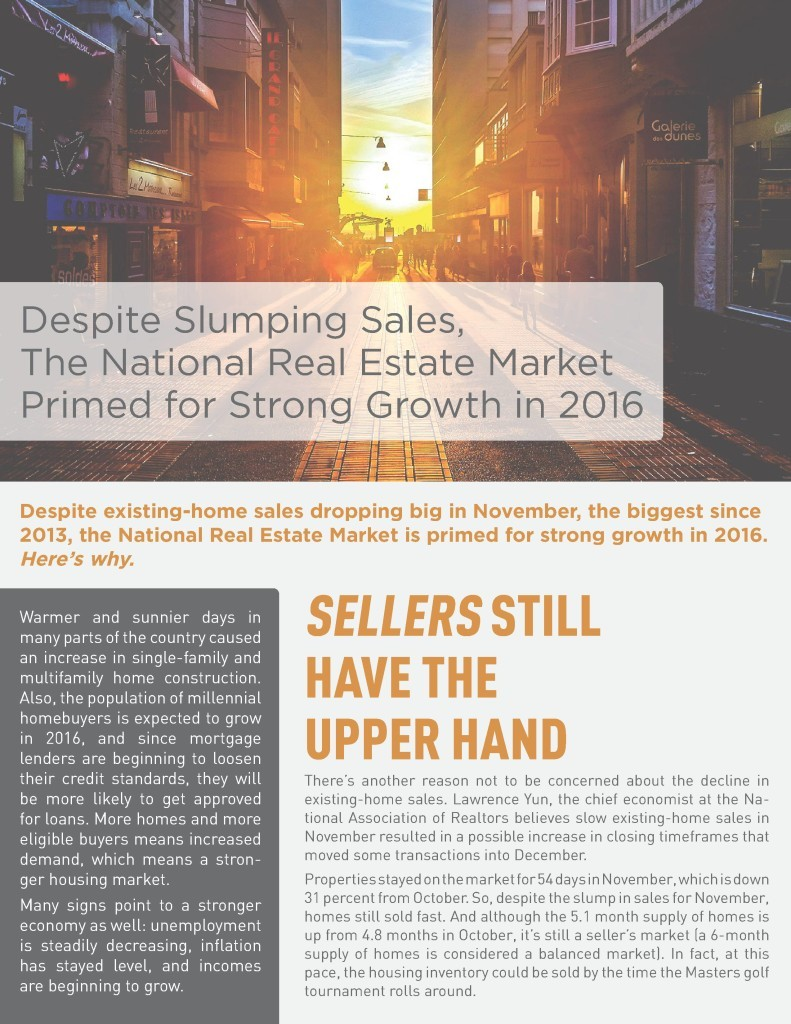 National Real Estate Market Primed for Big 2016